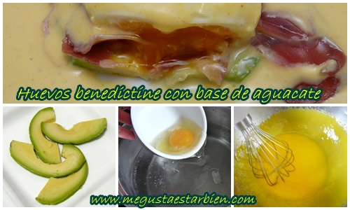 receta huevos benedictine con base de aguacate