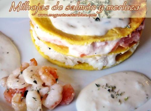 Milhojas de salmón y merluza