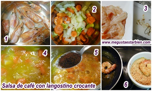 Receta salsa de cafe con langostino crocanti