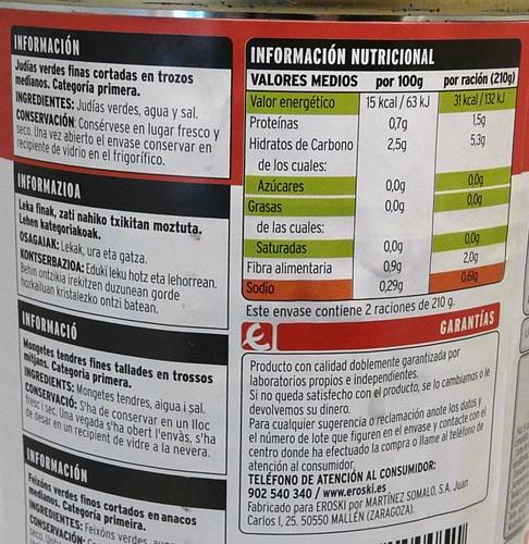 informacion nutricional lata