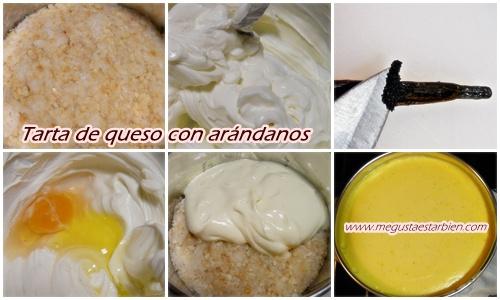 receta de tarta de queso con arandanos
