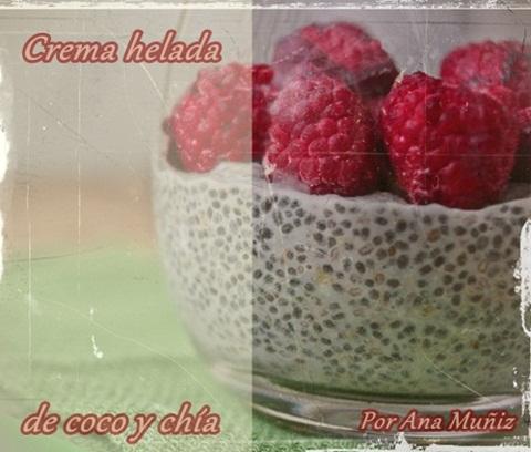 crema helada de coco y chía