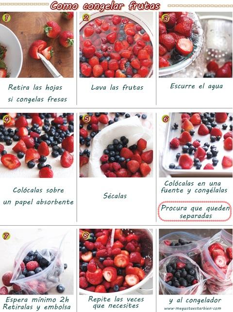 como congelar frutas
