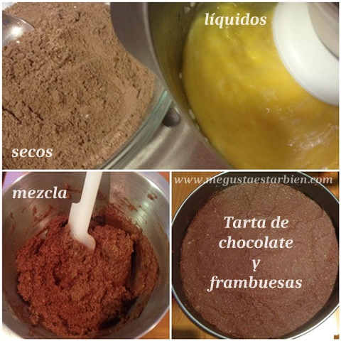 receta tarta de chocolate y frambuesas sin lacteos