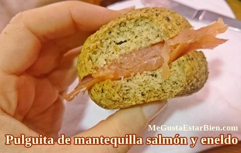 pulguita desayuno y merienda de salmon y mantequilla
