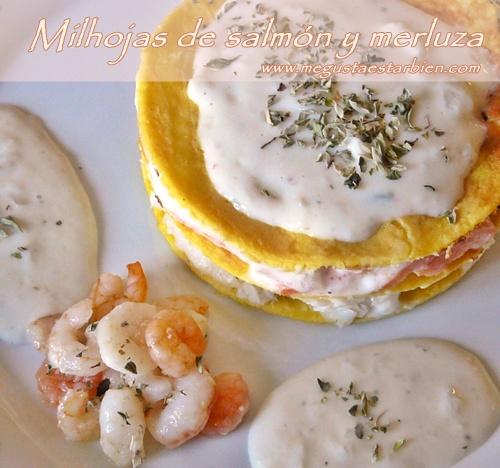 Milhojas de salmon y merluza dieta paleo