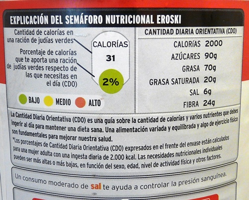 SEMAFORO NUTRICIONAL EROSKI
