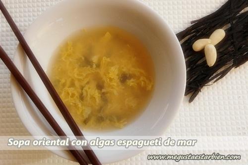 Sopa de huevo y algas