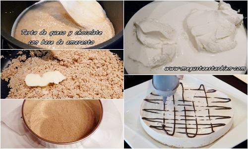 Receta tarta de queso y chocolate con base de amaranto