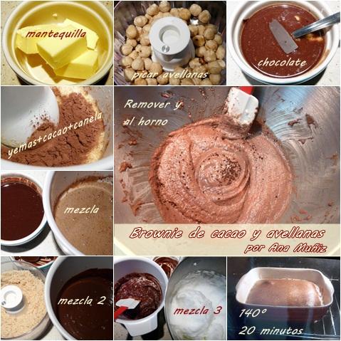 Receta brownie de cacao y avellanas