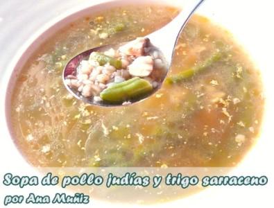 Sopa de pollo judias y trigo sarraceno