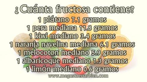 frutas y contenido en fructosa