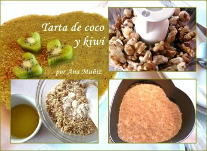 receta tarta coco y kiwi base