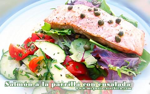 salmon y ensalada