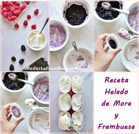 receta LCHF de helado de mora y frambuesas